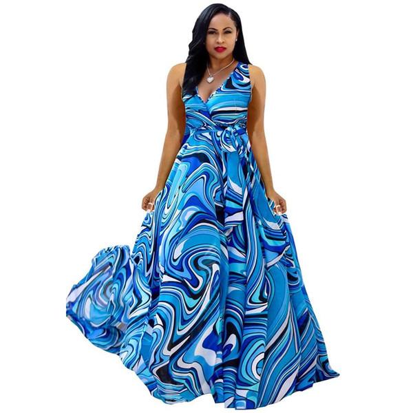 Boho deep v neck long women dress Chiffon cross lace up summer dress Sleeveless beach maxi dress vestidos NB-923