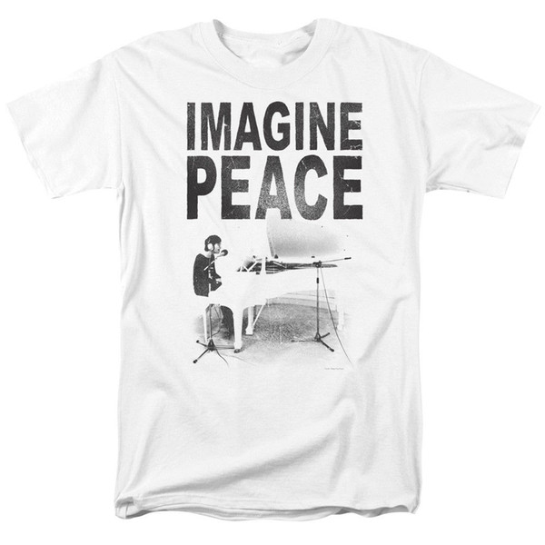 Джон Леннон представьте себе лицензированных взрослых T ShirtFunny бесплатная доставка мужская повседневная футболка топ