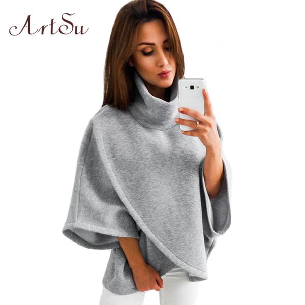 Artsu Asymmetrical Turtleneck Hoody Winter Sweatshirt Warme 3/4 Flare Sleeve Übergroße Hoodie Cross Lässige Pullover