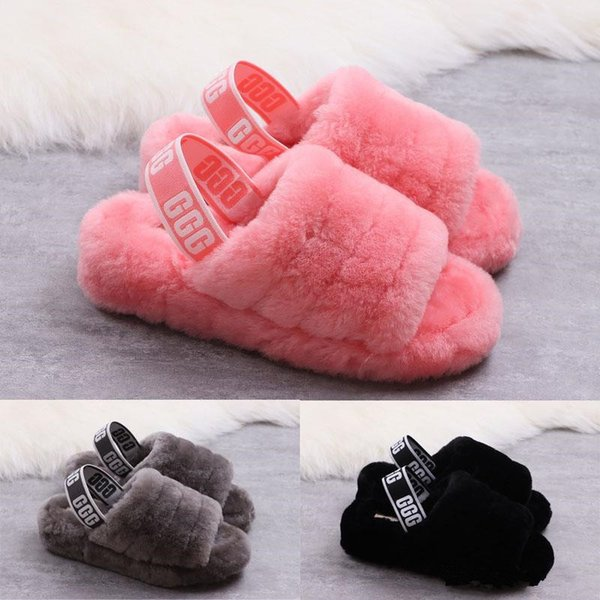 40a1aeeca4a9f Australia Fluff Yeah Slide Women Plush Wool Lantana Indoor Slippers Slip-On  Soft Sheepskin Uppers Open Toe Shoes With Box