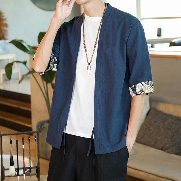Shirts Navy Kimono