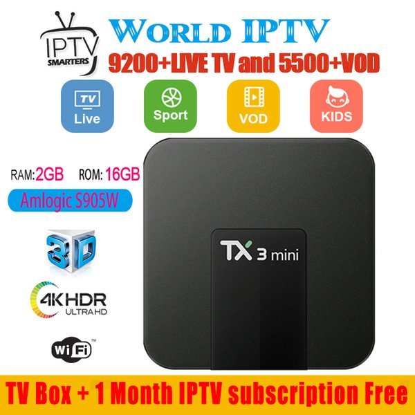 TX3 mini Android tv box wit iptv subscription 30+ countries 5000+ live and vod France US UK portugal arabic channels package IPTV Box