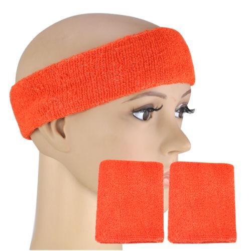 New Sale Neon Sweatband HEADBAND & 2 WRISTBANDS FANCY DRESS FUN RUN - Orange #232440
