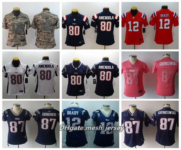 official photos 84df5 70844 2019 Women New American Football Patriots Jersey 87 Rob Gronkowski 12 Tom  Brady 80 Danny Amendola Color Rush Stitching Jerseys From Fresh001, $21.32  | ...