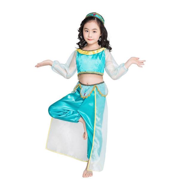 Mädchen Genie Prinzessin Jasmin Kostüm Storybook Aladdin Lampe Cosplay Kostüm Bauchtanz Outfit