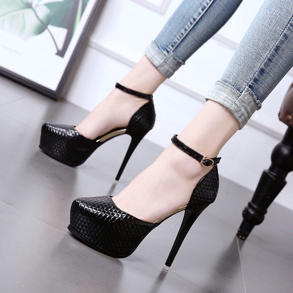 Sexy Women Shoes Pointed Toe Pumps High Heels 12cm Dress Wedding Shoes Ankle Strap Cutout Leather Platform Shoes Zapatos Mujer