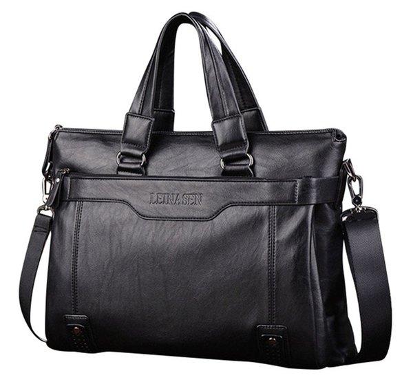 Brand Man Bag Leather Black Briefcase Men Business Handbag Messenger Bags Male Vintage Men's Shoulder Bag Large Capacity NA-96