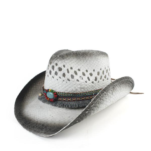 2019 Femmes Hommes de paille creuse Western Cowboy Hat Lady Papa main Bohème Sombrero Hombre Cowgirl Jazz Sun Caps Taille 56-58cm