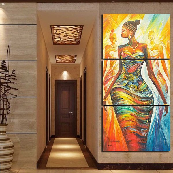 Decoration Living Room Canvas Pictures 3 Pieces Abstract African Women Framework Paintings Poster Modular Wall Art Modern Prints