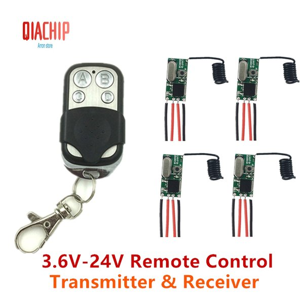 QIACHIP 433MHz Remote Control Switch DC 5V 12V Mini LED Light Receiver Relay with Transmitter Remote Control Smart Home