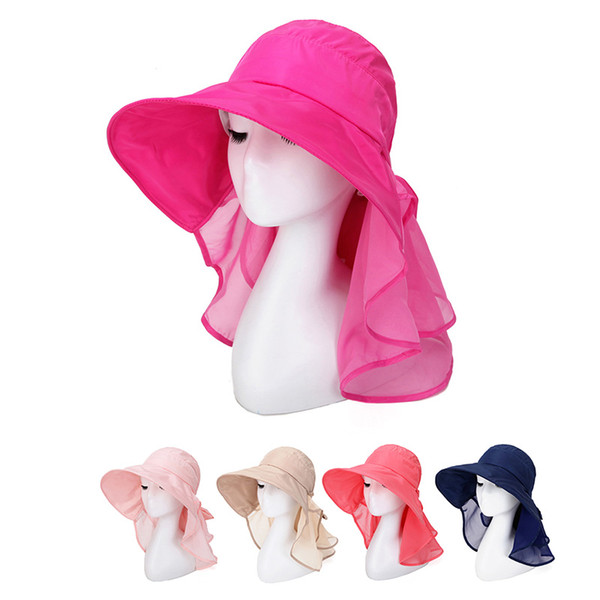 Sun Hats With Face Neck Protection For Women Chapeu UV Proof Beach Hat Mesh Quick Dry Female Caps Wide Large Brim With Bow