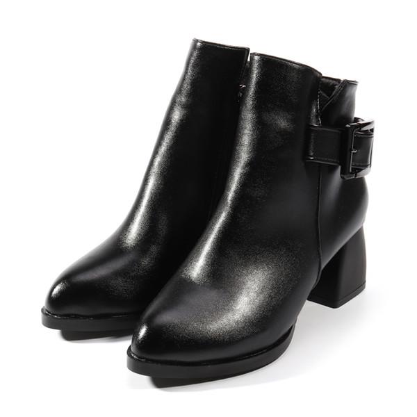 Feste High StiefelDamen Warme Boots Plüsch Heel Zehe Nis Herbst FrauenSchwarze Ankle Spitze Winter Für Großhandel Weiche Schnalle Kurze 0P8nwOk