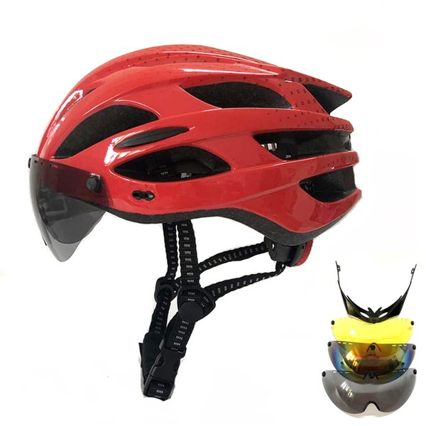 Adults In-molded Cycling Helmet Hat visor glass Multi lens MTB Road Mountain Bike Helmet Bicycle Glasses ciclismo bici