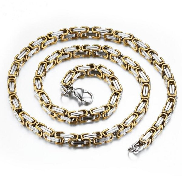 Punk Style Chain Necklaces Personalized Silver/Gold Plated Stainless Steel Link Chain Jewelry Gift For Man K4129