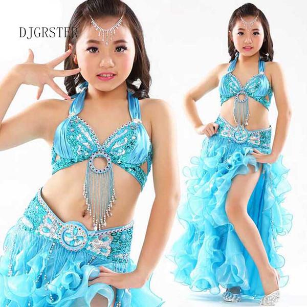 Costumi DJGRSTER 2019 Kids Belly Dance 2-3 pezzi (reggiseni + gonna + catena in vita) Costume zingaro Danca Do Ventre Vestido Indiano 8 colori
