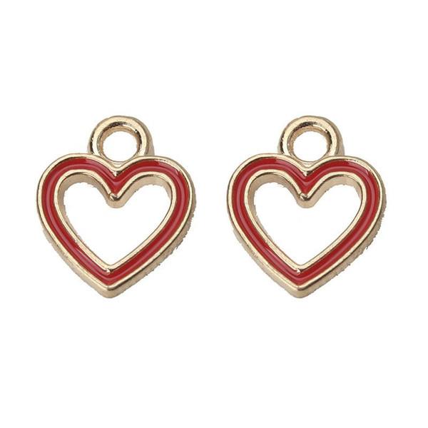 l'intero sale10pcs / lot rosso / nero / cuore bianco incanta la lega che vuota l'accessorio dei monili dell'orecchino del pendente Braccialetto fai-da-te che fa scoperta