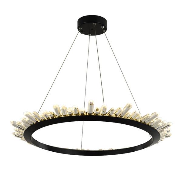 Modern Crystal Chandelier For Living Room Northern Europe Black LED Hanging Lighting Fixture Luxury Home Decoration Lustres De Cristal