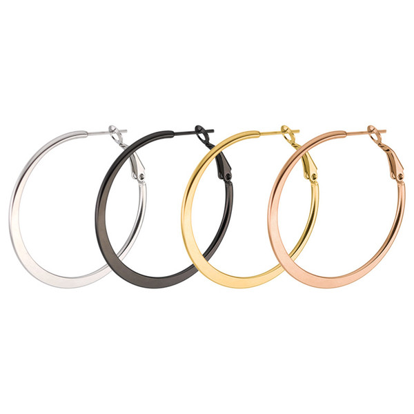 Hot Brand Big Hoop Earrings Women Earrings Lobster Clip Clasp Simple Anti-allergic Stainless Steel Gold Plated Flat Round Earrings For Wome