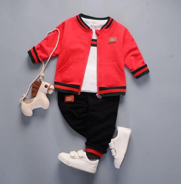 Bestselling novas roupas para crianças 201 primavera e outono New Style dos homens do bebê três peças de manga comprida terno menino menina 1-4 T