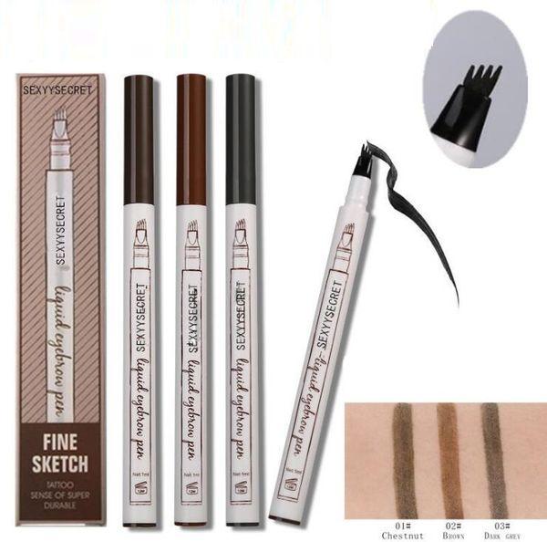 Hot Liquid Eyebrow Pen Enhancer 4 couleurs Quatre optimiseurs de sourcils imperméables Navire gratuit via FEDEX / DHL