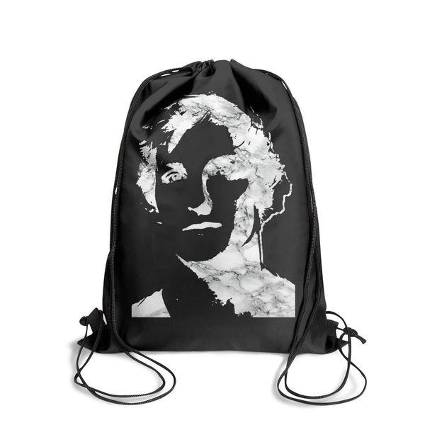 Drawstring Sports Backpack Logan Paul Online video White marbleoutdoor adjustable school Travel Fabric Backpack