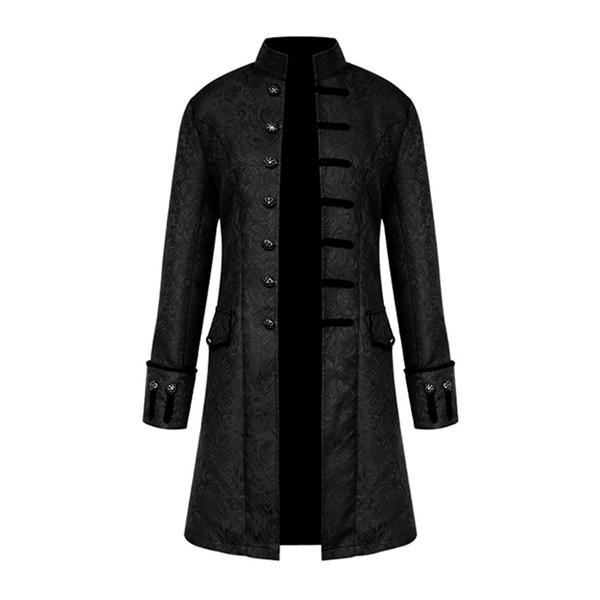 Großhandel Frühling Retro Gothic Steampunk Jacke Männer Vintage Floral Oberbekleidung Mantel Lässig Windjacke Taste Herren Mantel Plus Größe Jacke Von