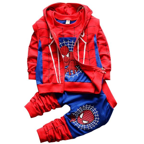 Yürüyor Boys Cosplay Spiderman Setleri Karikatür T-shirt Yelek Spor Pantolon çocuk 3 adet Erkek Bebek Kapüşonlu Fermuar Çocuk Giyim J190717