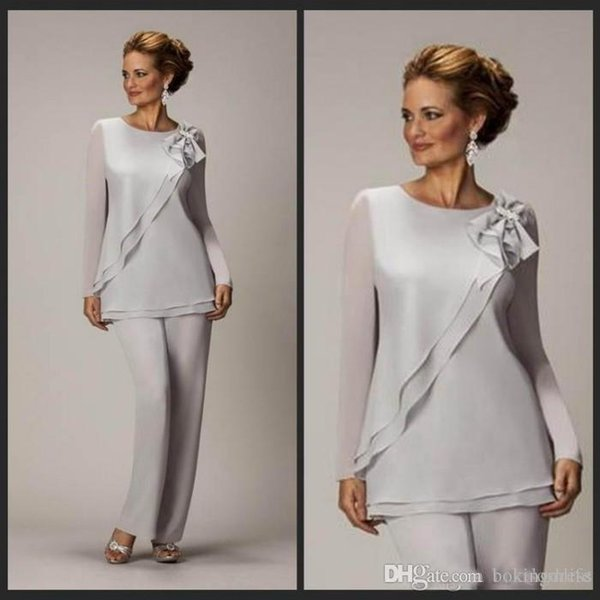 Modest Two Pieces Mother Of The Bride Pants Suit For Weddings Cheap Chiffon Mother's Groom Pantsuits Long Sleeve Mothers Outfits Formal Wear