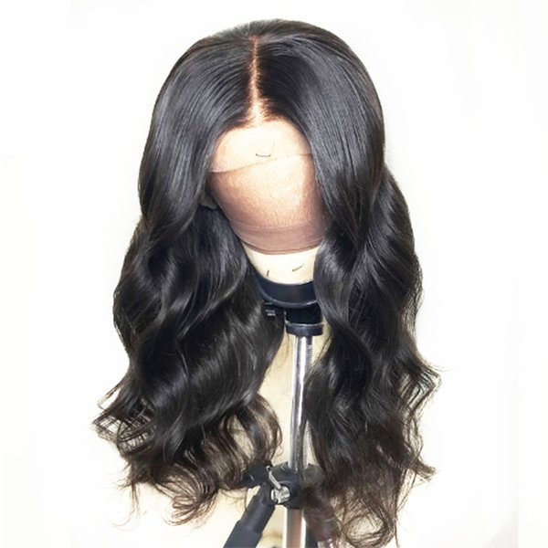 Hot Popular 26inch Black Long Body Wave Hair Heat Resistant Fiber Glueless Synthetic Lace Front Wigs Natural Hairline Soft Wigs for Women