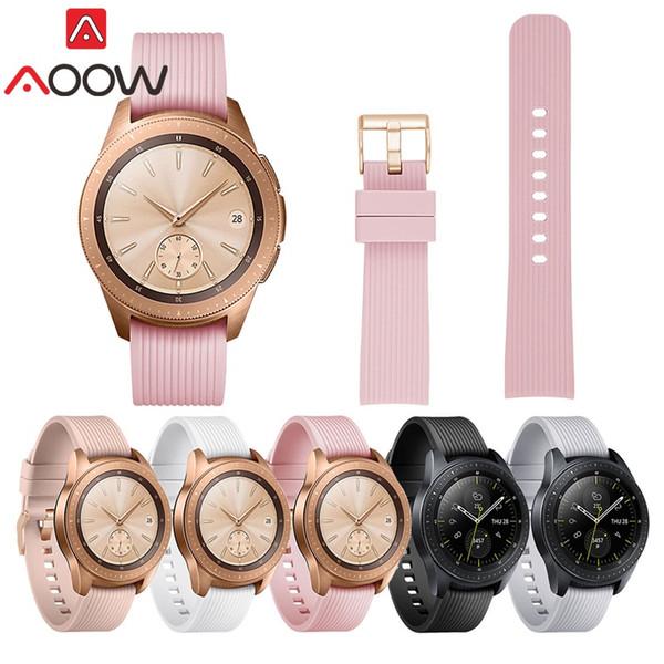 AOOW Silikon Samsung Galaxy İzle için 2018 Yeni Watchband 42mm SM-R810 Akıllı Kordonlu Saat Bilek Kayışı Bilezik Izle Aksesuarları