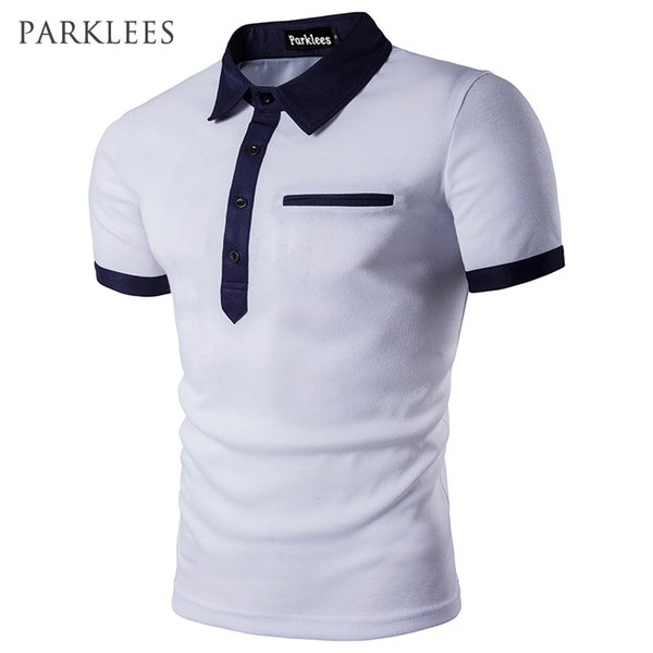 Men Homme 2017 Patchwork Single Breasted Mens Shirt Short Sleeve Turn Down Collar Slim Fit Camisas Polo Xxl C19041501