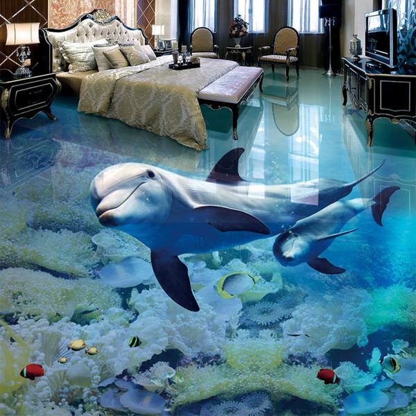 Papel De Parede 3D Floor murale personnalisée Dolphin Underwater World Wallpaper For Kids Wear Salle de bain antidérapant autocollant imperméable