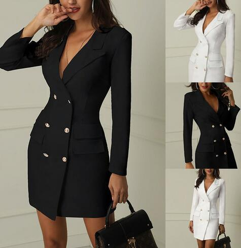 Fashion Casual Slim Solid Women Lady Button Long Sleeve Deep V-Neck Suit Coat Outwear Autumn Spring Clothes For Girls