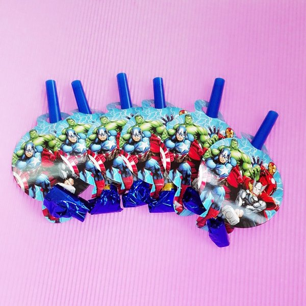 6pcs/set averagers party theme Childrens Birthday Party Decoration Funny Whistle Blowing Dragon Blowout Baby Birthday Supplies
