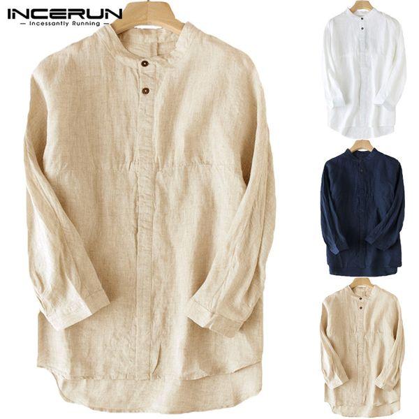 Marca para hombre Ropa Camisas para hombre Vestido con botones Hasta tres cuartos de manga Cuello redondo Loose Fit Hombre Tops Ocio Camisas de algodón Camisa