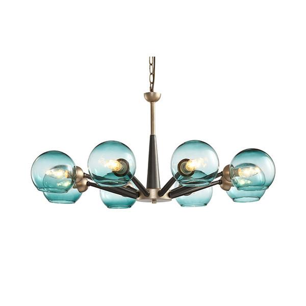 Postmodern blue glass ball sleek minimalist pendant light luxury lamps Nordic living room dining room bedroom pendant lamp