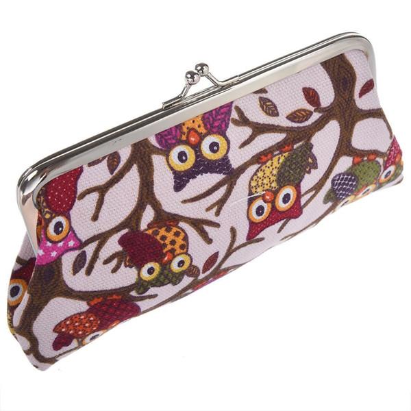 Cartoon Coin Purse Money Bag Wallet Owl Pattern(pink)
