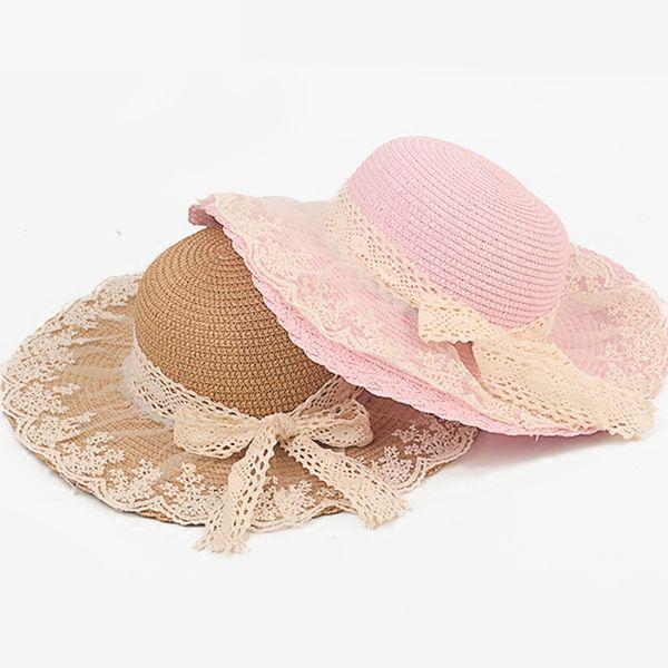 Lace Summer Sun Hats For Women New Fashion Sombreros Wide Brim Beach Side Cap Floppy Female Straw Hat for Girls Kids