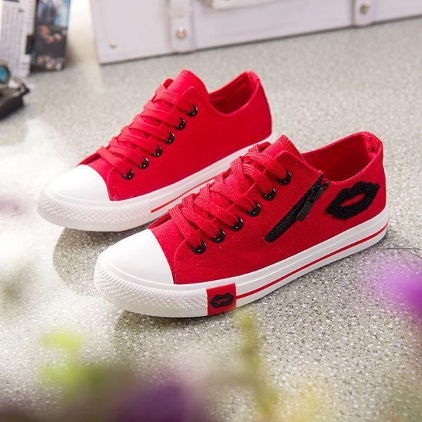 Red Lips Zipper Canvas Womens Shoes Flats 2019 Girls Lace Up Brand Flat Shoe Women Comfortable Walking Sneakers Zapatillas plataforma