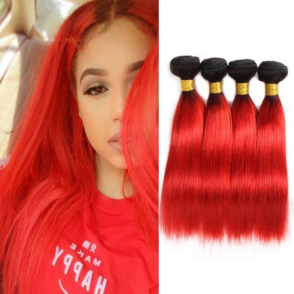Extensiones de cabello humano recto sedoso peruano para el cabello de la modista 4 paquetes Negro a Ombre rojo caliente Tonos del cabello de dos tonos