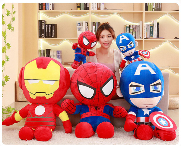 The Avengers Marvel Heroes Iron Cartoon Man/Spider-Man/Captain America stuffed plush toy for baby best Christmas gift