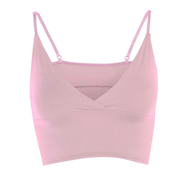 Summer Girls Bra Sleeveless Ladies V Neck Wrap Over Crop Top Plus Size Womens Top Camisole Simple Clothes debardeur femme
