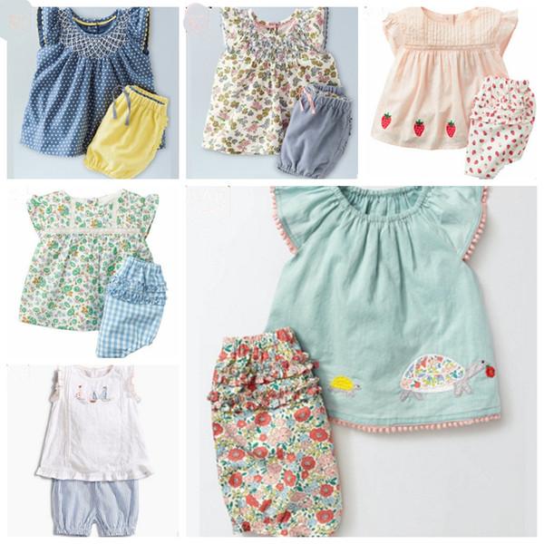 Baby Girls Outfits algodón niños camiseta Shorts 2PCS conjunto Floral niñas ropa conjuntos verano niños ropa 6 colores YW2626