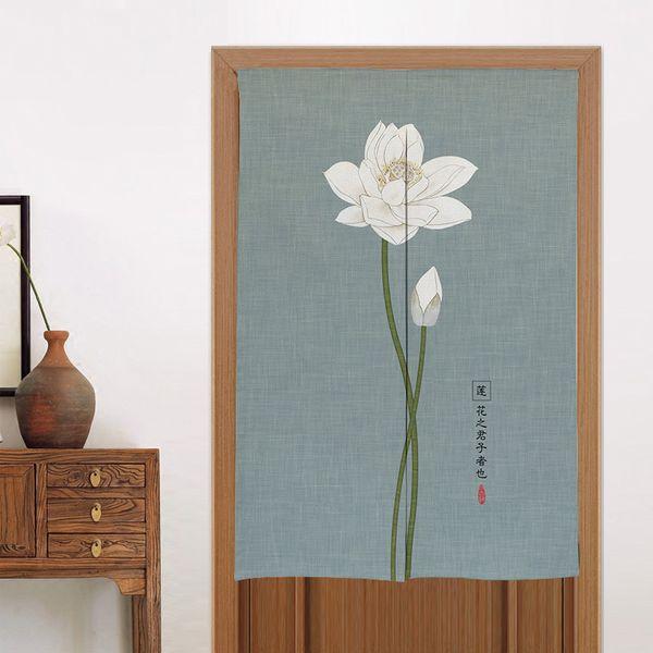 New Chinese Style Lotus Door Curtain Toilet Kitchen Half Curtain Noren Japanese Doorway Feng Shui Door