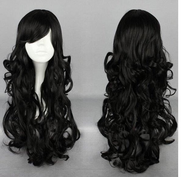 FREE SHIPPING + Popular Lolita BLACK Long Curly Cosplay Anime Hair Full Wig