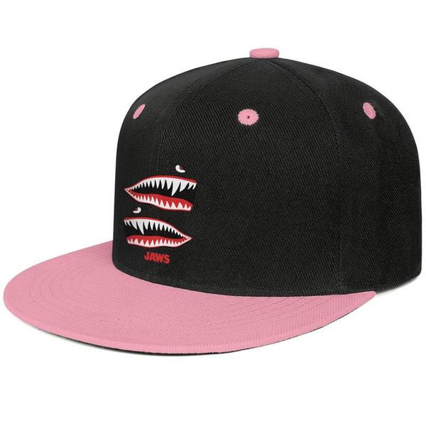 Film Jaws Shark Ağız Pembe erkekler ve kadınlar için beyzbol düz ağız kapağı serin donatılmış özel boş donatılmış sevimli şık klasik düz ağız şapka