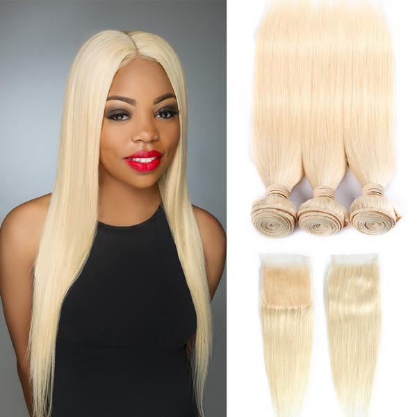 Leila Remy Sarışın Renk Brezilyalı Saç Örgü Kapatma Ile Düz Stil İnsan Saç 3 Demetleri Ile Dantel Kapatma 613