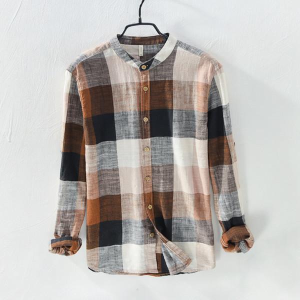 New Spring Summer Linen Cotton Shirt Men Patchwork Long Sleeve Casual Shirts O-neck Loose Mens Shirt Streetwear Clothes