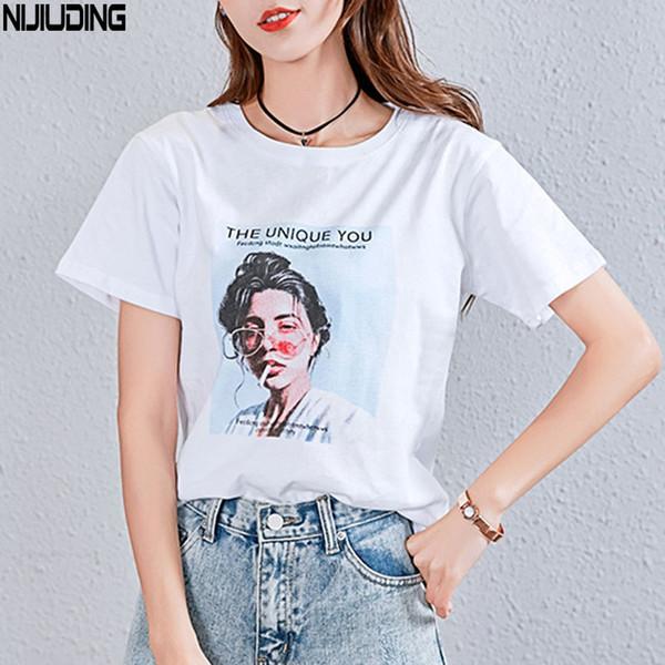 Nijiuding White Female T-shirt 2018 T Shirts Summer Novelty Tee T Shirt Short Sleeve Print Women Cotton O-neck Tops Tees Q190425