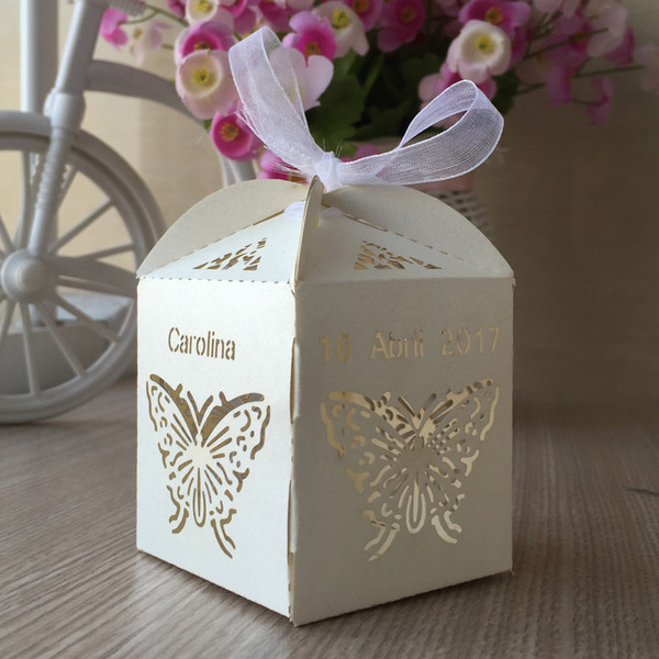50PCS /lot Hollow Laser Cut Wedding Candy Boxes Design With Ribbon Birthday Party Favor Holders Grand Events Supplies